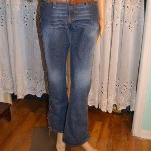 Rock & Republic Denim Leather Lace-Up Jeans Sz 9